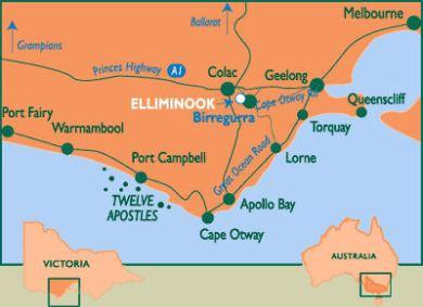 Carte de la great ocean road avec ses principaux lieux touristiques